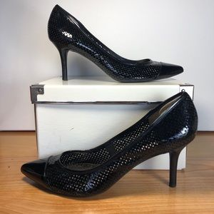 DKNYC perforated patent black leather kitten heels